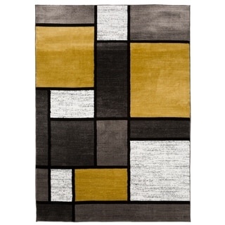 Contemporary Modern Boxes Yellow Area Rug - 2' x 3'
