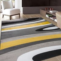 Abstract Contemporary Modern Yellow Area Rug - 9' x 12'