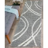 Soft Cozy Contemporary Stripe L. Gray White Indoor Shag Runner Rug - 2' x 7'3