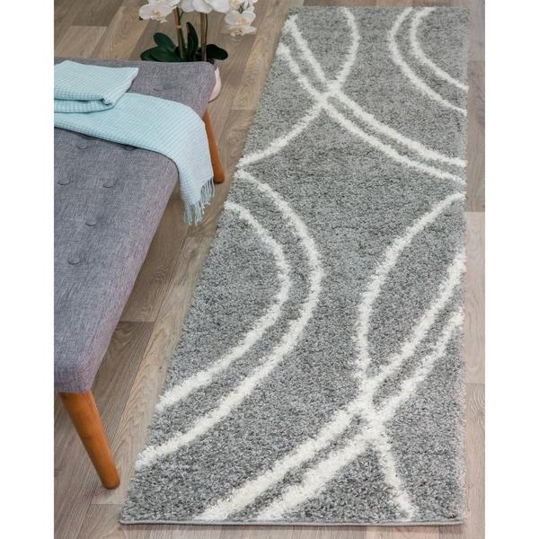 Shop Soft Cozy Contemporary Stripe L. Gray White Indoor ...