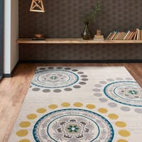 Contemporary Modern Circles and Dots Area Rug Cream - 9' x 12'