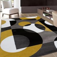 OSTI Modern Circles Yellow/Black/Grey Area Rug - 9' x 12'