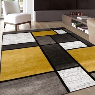 """Contemporary Modern Boxes Yellow Area Rug - 3'3"""" x 5'"""