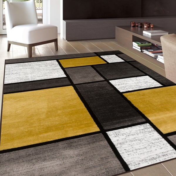 Shop Contemporary Modern Boxes Yellow Area Rug 3 3 X 5 Free