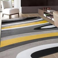 OSTI Yellow Abstract Contemporary Modern Area Rug - 5'3 x 7'3