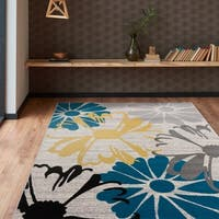 Contemporary Modern Large Floral Flowers Area Rug Cream - 5' x 7'