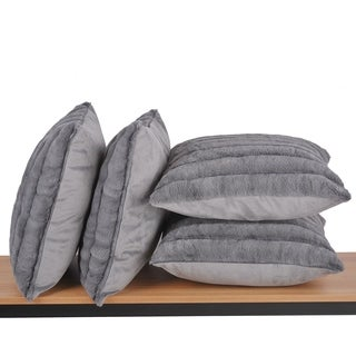 Serenta SuperMink 4 PC Solid Color Throw Pillow Shell Cushion Cover