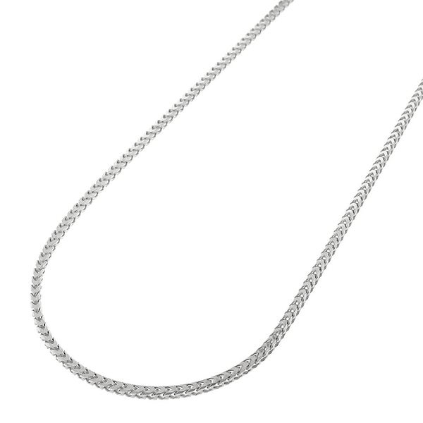 16532f532442e Shop 14k White Gold 1mm Solid Franco Square Box Link Necklace Chain ...
