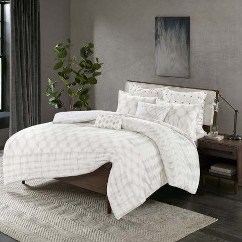 Carson Carrington Elva Grey Cotton 3-piece Duvet Cover Set