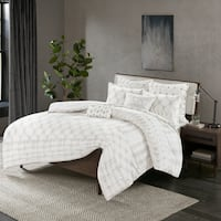 INK+IVY Fiji Grey Cotton 3-piece Duvet Cover Set