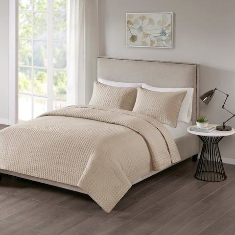 510 Design Nash Khaki Quilted 3-piece Coverlet Set