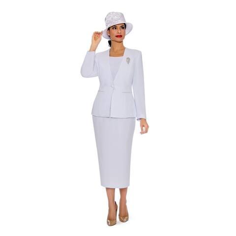 Giovanna Signature Women's 3-piece Microfiber Washable Collarless Skirt Suit
