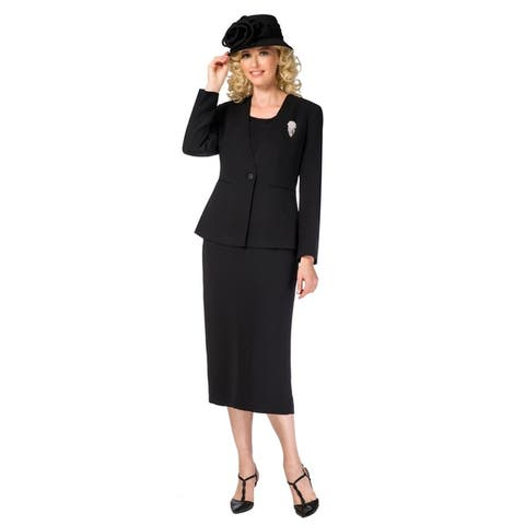 Giovanna Signature Women's 3-piece Microfiber Washable Collarless Skirt Suit