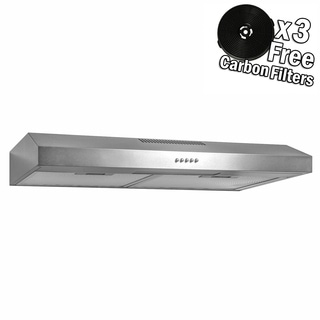 "AKDY 24"" Under Cabinet Stainless Steel Push Panel Kitchen Range Hood Cooking Fan w/ Carbon Filters"