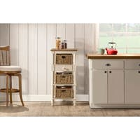 Seneca Tall Basket Stand with Middle Drawer - 3 Baskets Included