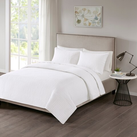 510 Design Nash White Quilted 3-piece Coverlet Set