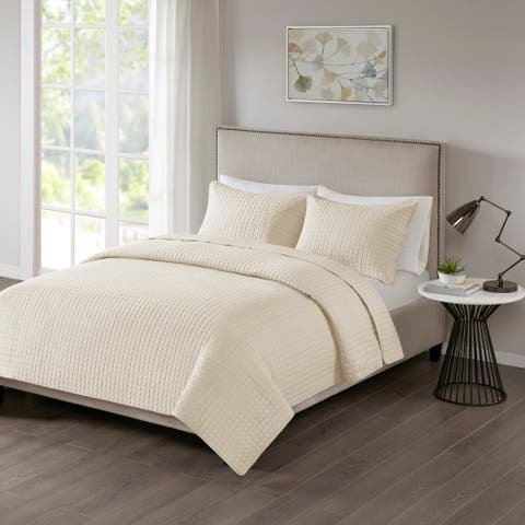 510 Design Nash Cream Quilted 3-piece Coverlet Set