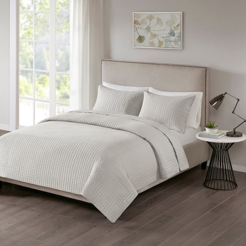 510 Design Nash Grey Quilted 3-piece Coverlet Set
