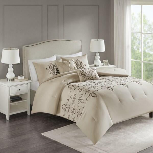 510 Design Salvan Natural Embroidered 5-piece Comforter Set
