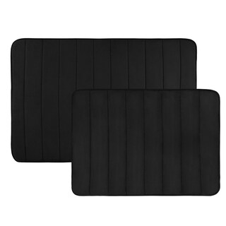 Non Slip and Fast Dry 2 Piece Memory Foam Bath Mats - Absorbent Hydro Grip Designed Bath Rug By Windsor Home (Option: Black)