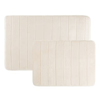 Non Slip and Fast Dry 2 Piece Memory Foam Bath Mats - Absorbent Hydro Grip Designed Bath Rug By Windsor Home (Option: Off-White)