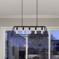 Russ160 Black Iron 5-light Kitchen Island Pendant