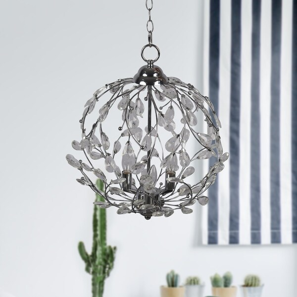 3-Light Nickel Crystal Chandelier