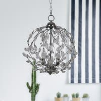 3-Light Nickel Crystal Chandelier