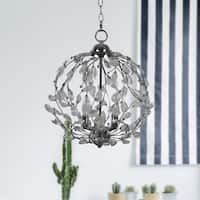 Russ160 Nickel Metal and Crystal 3-light Chandelier