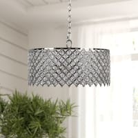 Russ160 Chrome Metal and Clear Crystal 2-light Chandelier