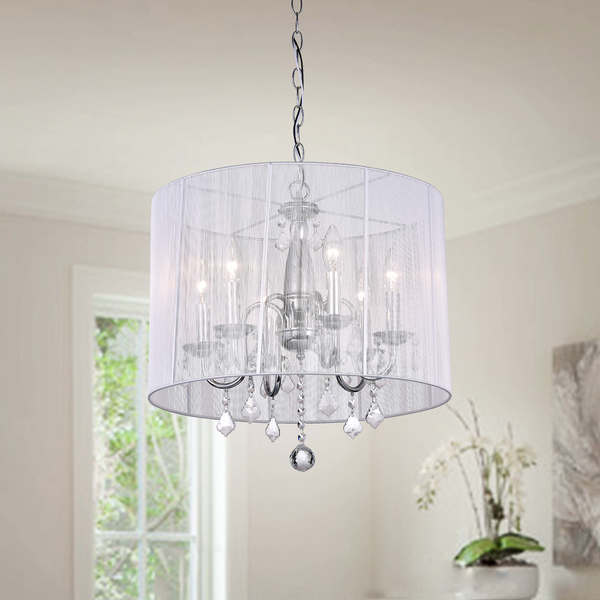 Silver Orchid Taylor Chrome and Cream 6-light Crystal Chandelier