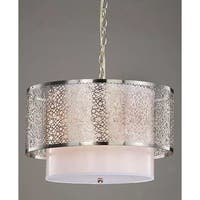 Silver Orchid Taylor 3-light Contemporary White Shade Satin Nickel Chandelier
