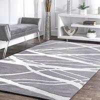 nuLOOM Handmade Pino Geometric Grey Modern Byways Rug - 5' x 8'