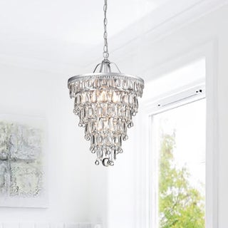 Silver Orchid Taylor Cone Shape Matte Silver 4-light Crystal Chandelier