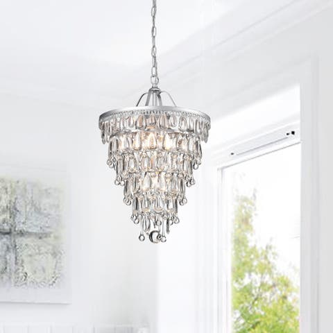 Silver Orchid Taylor Conical Matte Silver 4-light Crystal Chandelier