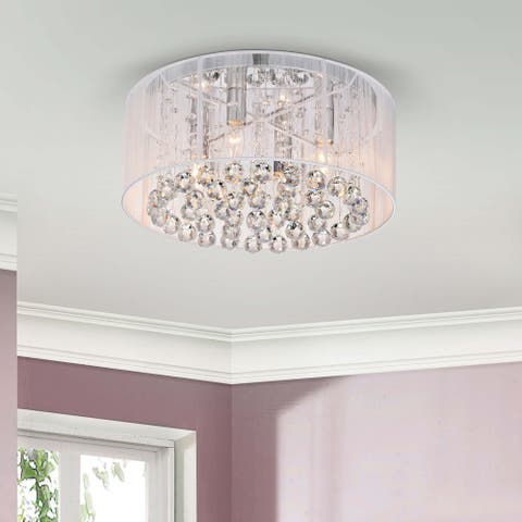 Silver Orchid Taylor 4-light Chrome and White Crystal Chandelier