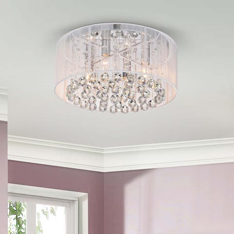 Silver Orchid Taylor 4-light Chrome and White Crystal Chandelier - N/A