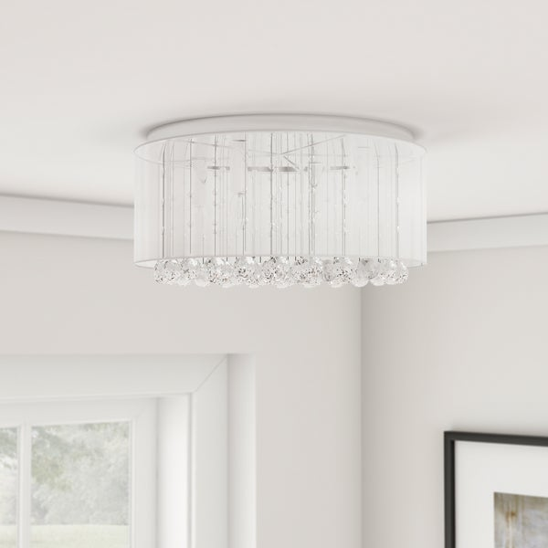 Silver Orchid Taylor 4 Light Chrome And White Crystal Chandelier