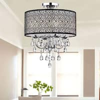 Silver Orchid Taylor Bubble Shade Crystal and Chrome Flushmount Chandelier
