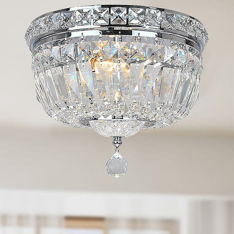 Silver Orchid Taylor Chrome and Crystal Flushmount Chandelier - N/A