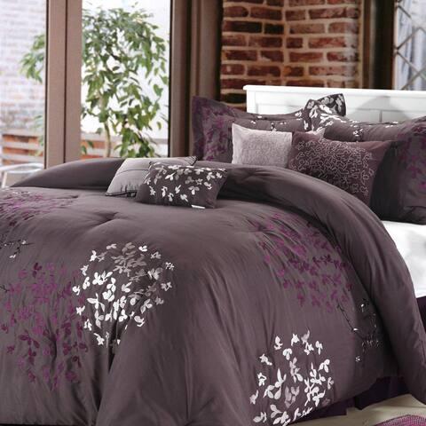 Silver Orchid Negri Plum 8-piece Comforter Set