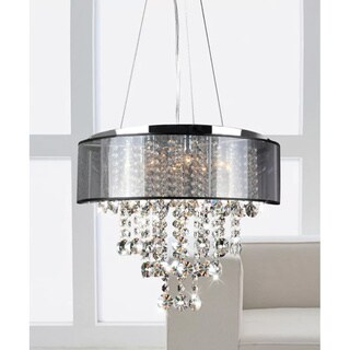 Chrome and Translucent Black Shade 9-light Crystal Chandelier
