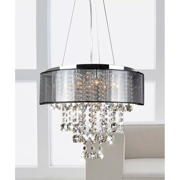 Chrome And Translucent Black Shade 9 Light Crystal Chandelier On Free Shipping Today 20253906