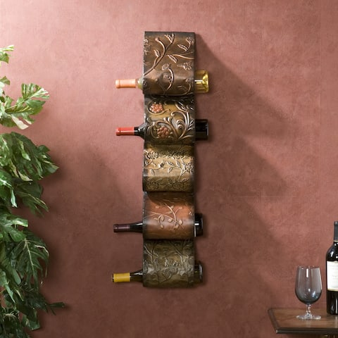 Copper Grove Osceola Metal Wall Mount Wine Rack Sculpture
