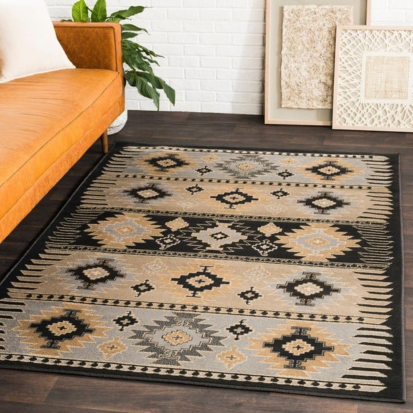 Copper Grove Mike Southwestern Aztec Black Area Rug - 5'3 x 7'6