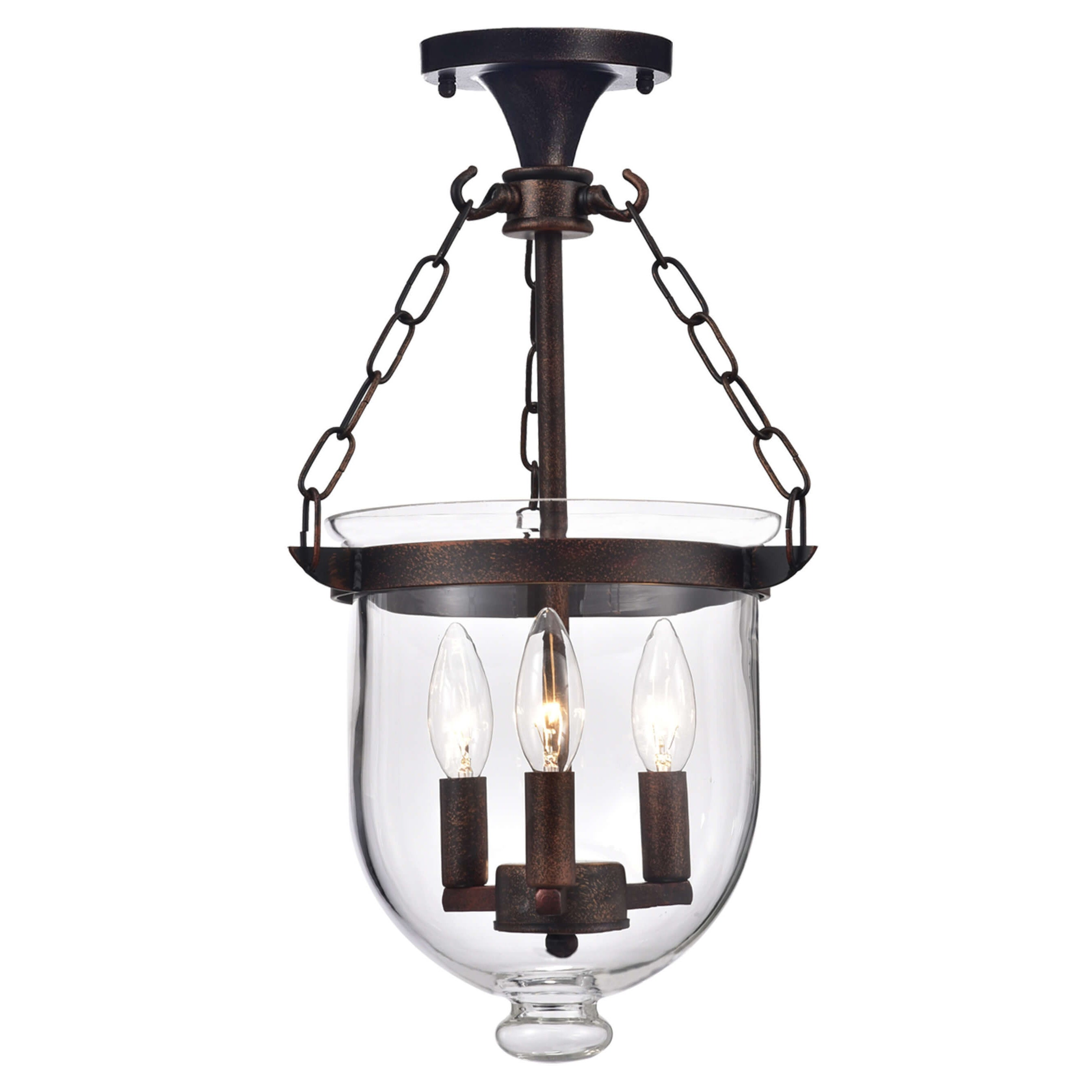Copper Grove Antique Copper Bell Jar Glass Lantern Chandelier Overstock 20253924