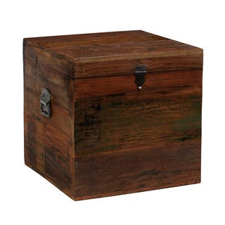 Buy trunk square coffee console sofa end tables online at pine canopy pike 18 inch reclaimed wood square box watchthetrailerfo