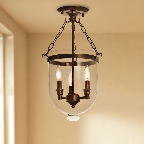 Copper Grove Antique Copper Glass Lantern Flush Mount Chandelier