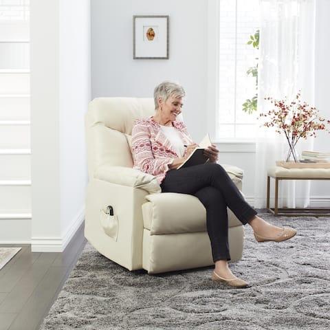Strick & Bolton Bruno Cream Leather Power Recline Chair