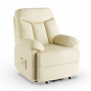 Strick & Bolton Bruno Cream Leather Power Recline Chair